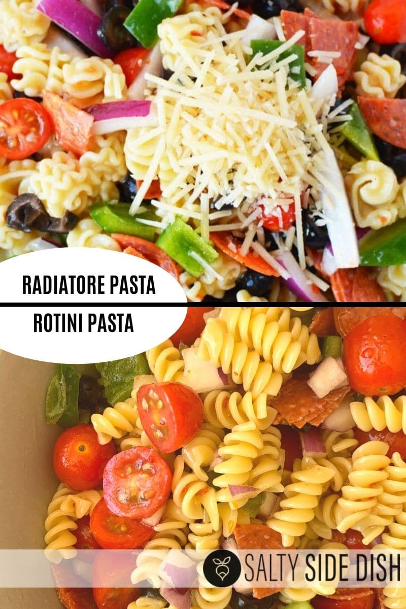 a collage showing the difference in pasta styles and types between using radiatore pasta and rotini pasta in an italian pasta salad