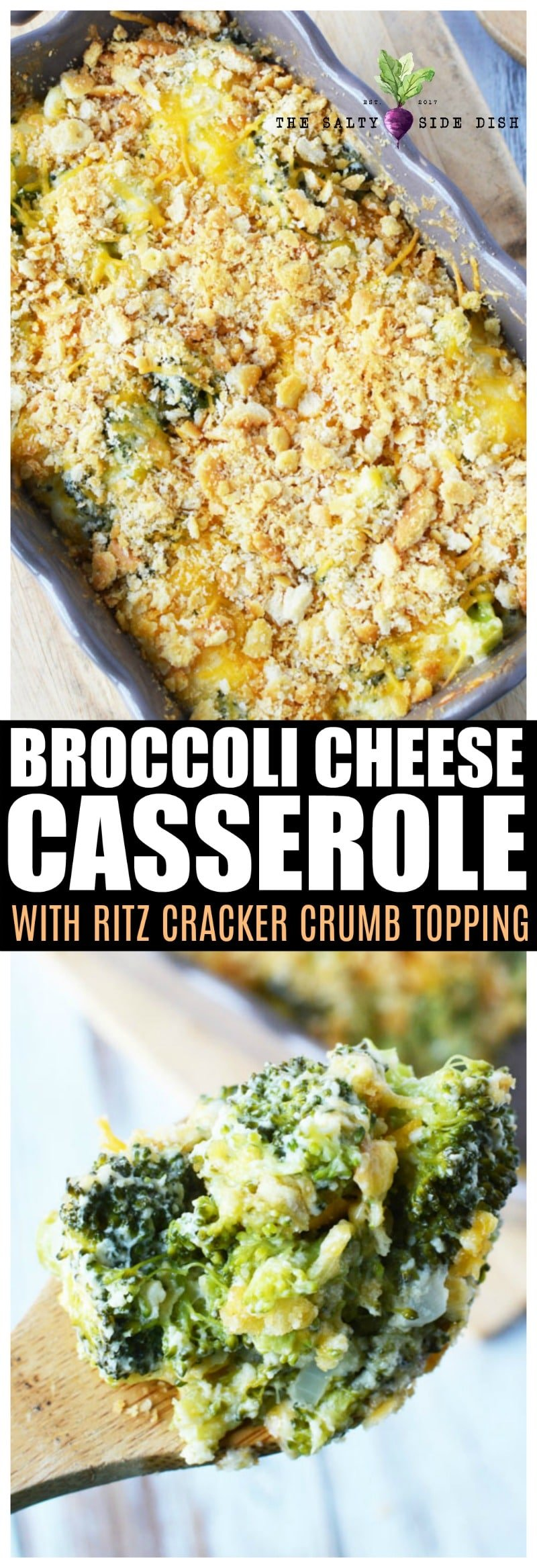 Broccoli Cheese Casserole an ultra easy and ultra cheesy side dish with ritz crackers #broccoli #casserole #sidedish