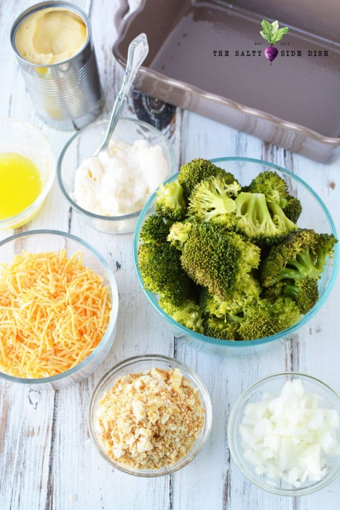 broccoli casserole ingredients in a bowl and ready to make your broccoli casserole, its easiest to pre- separate ingredients for quick recipe assembly