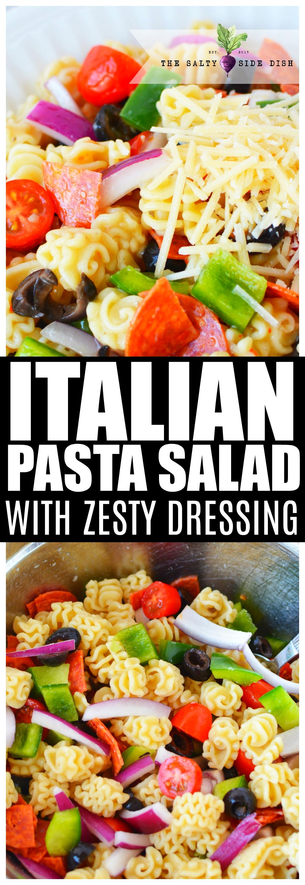 Italian Pasta Salad is the perfect cold side dish salad recipe with zesty Italian dressing #salad #italian #pasta #picnic #salads #dressing #recipe #food #dinner #holiday