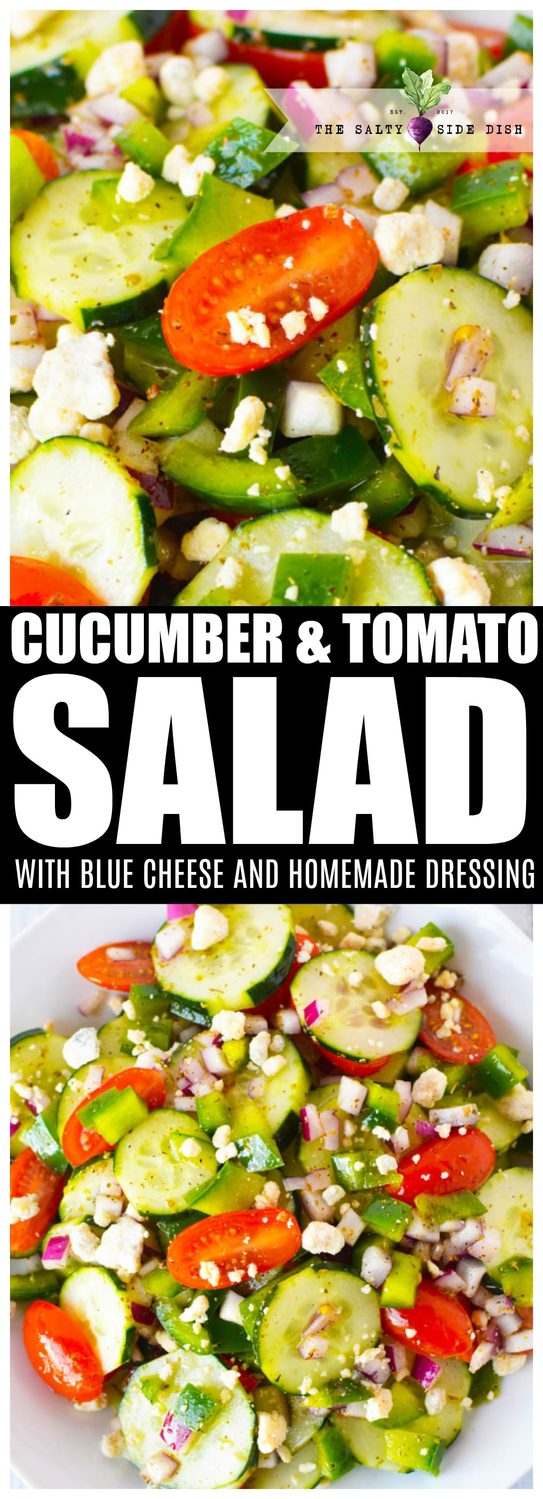 Cucumber Tomato salad is a light, fresh and healthy salad packed with grape tomatoes, red onions and delicious feta cheese. Dripping in a delicious olive oil, lemon, and red wine vinegar base, this is a healthy salad recipe that takes under 10 minutes to make #salads #salad #cucumber #tomatoes #food #sidedish #saltysidedish #recipe #vegan #vegetarian