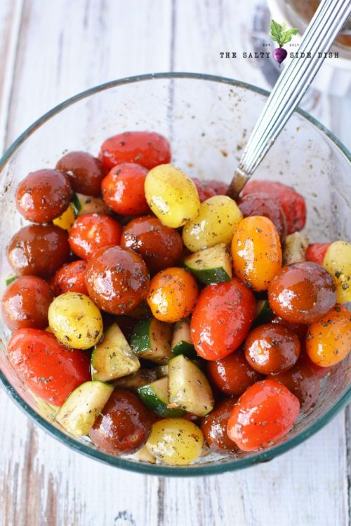 cherry tomato salad with spoon