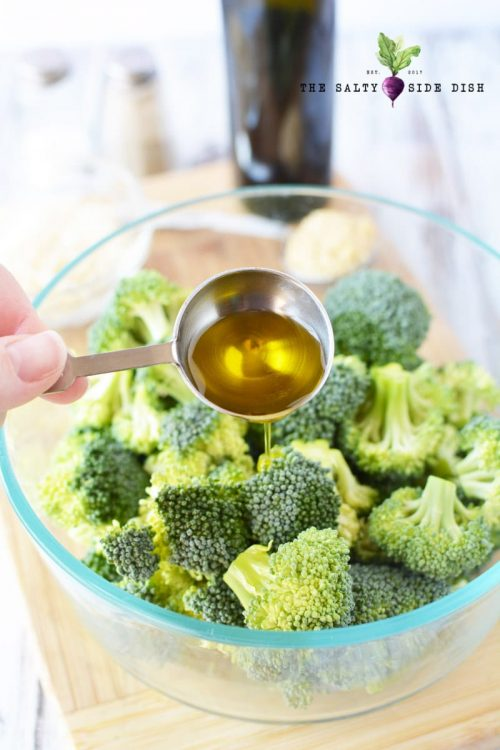 roasted broccoli and olive oil mixture