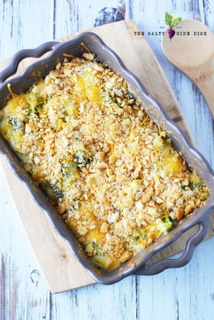broccoli cheese casserole with ritz cracker topping has tons of cheese and broccoli for a perfect holiday side dish that is healthy