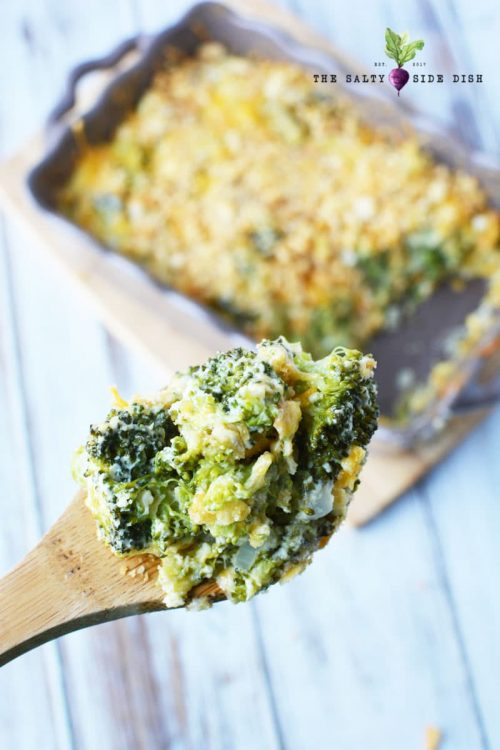 broccoli casserole on a serving spoon