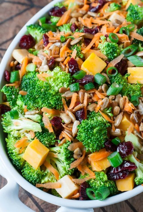broccoli salad with cheese and carrots