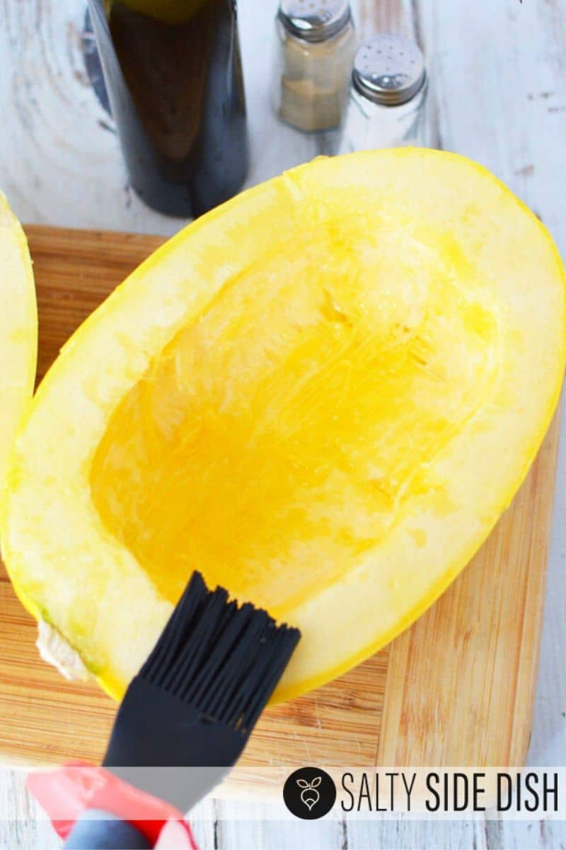brush spaghetti squash with oil