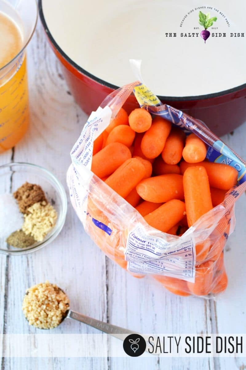bag of carrots sitting with minced garlic