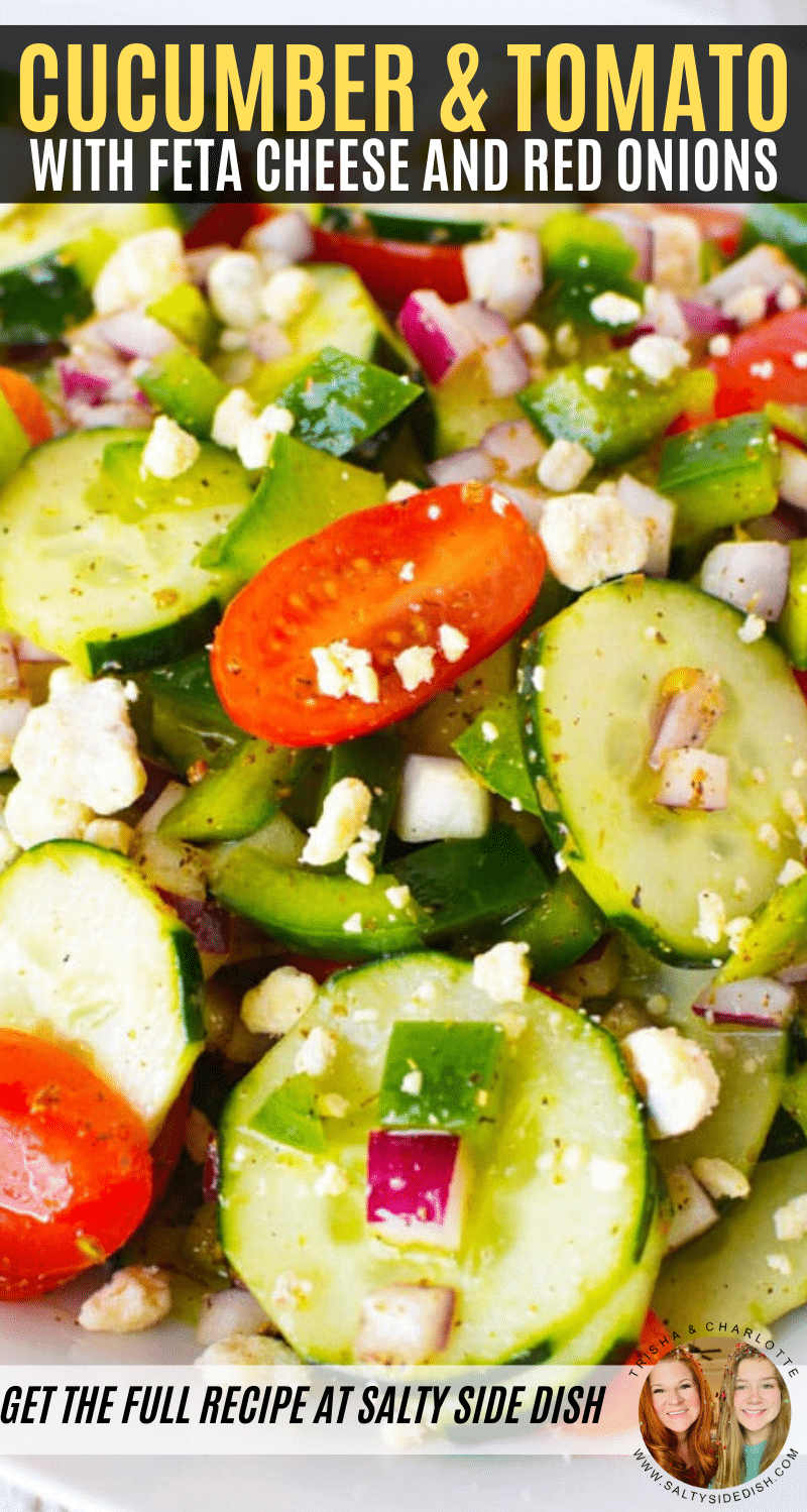 cucumber and tomato salad with feta cheese and red onions pinterest pin