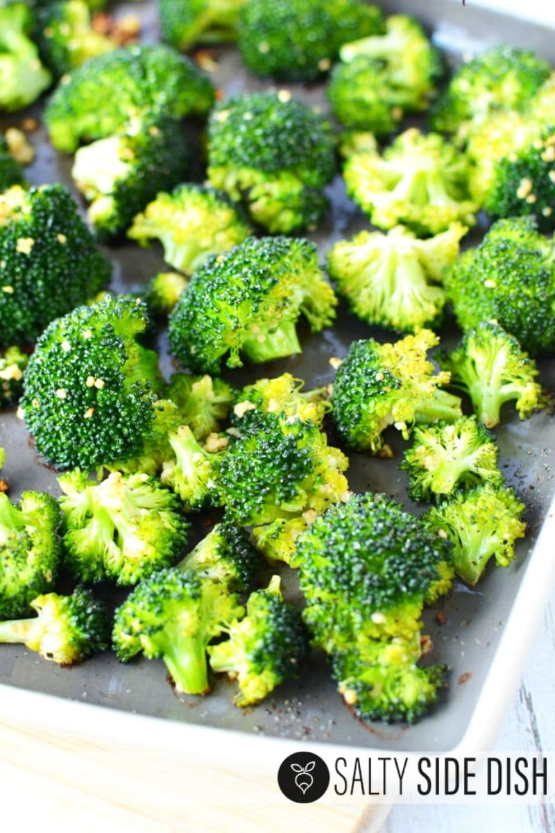 roasted broccoli in a plate
