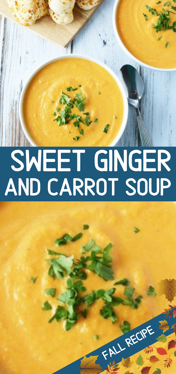 Roasted Ginger and Carrot soup is perfect for the winter months and a side of bread