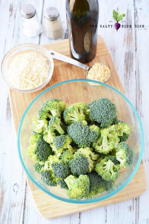 raw broccoli with garlic