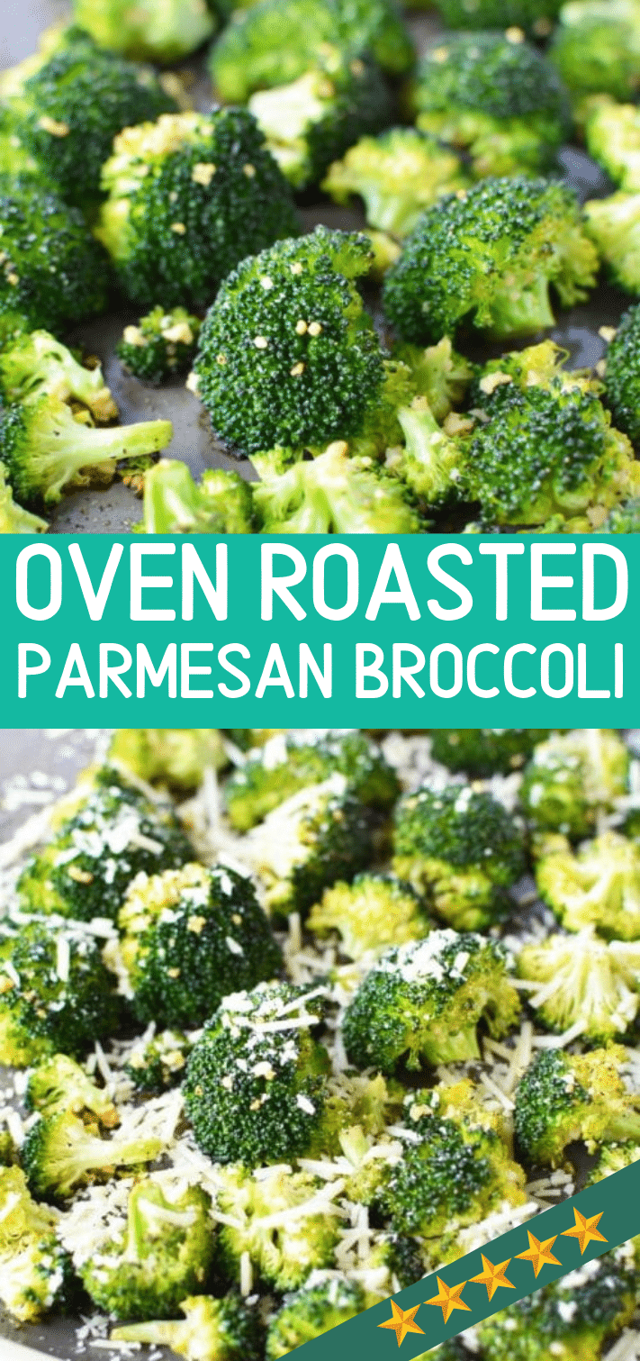Oven Roasted Broccoli with Parmesan and Garlic, Easy Healthy Recipe Side Dish Option