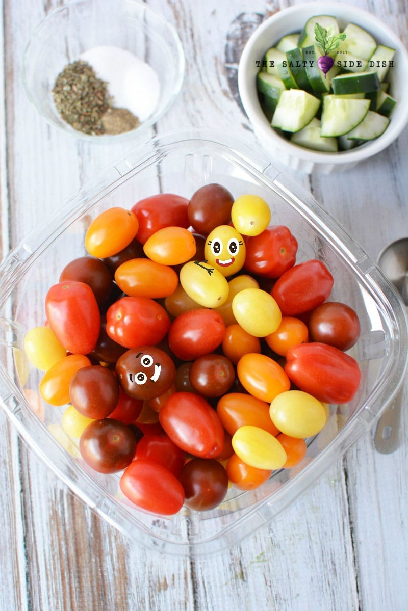 cherry tomatoes in a salad