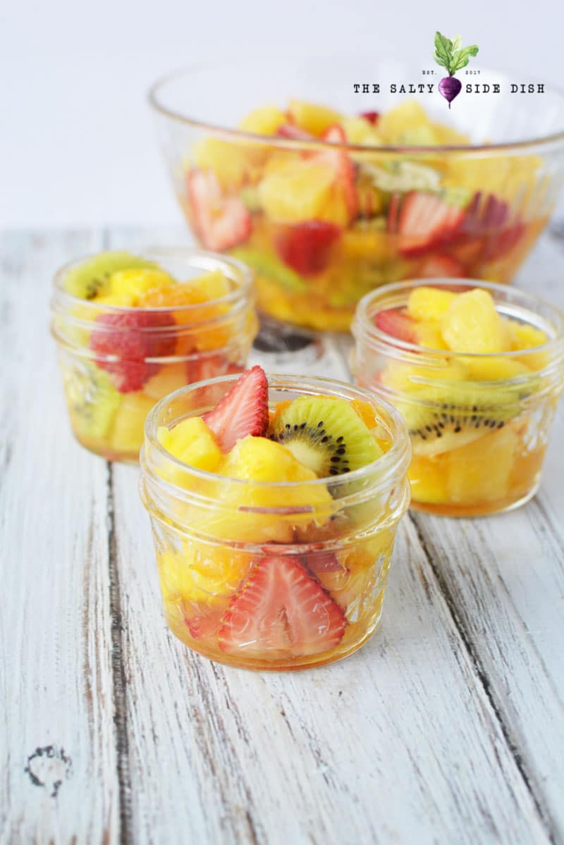 serve your tropical fruit salad in mason jars