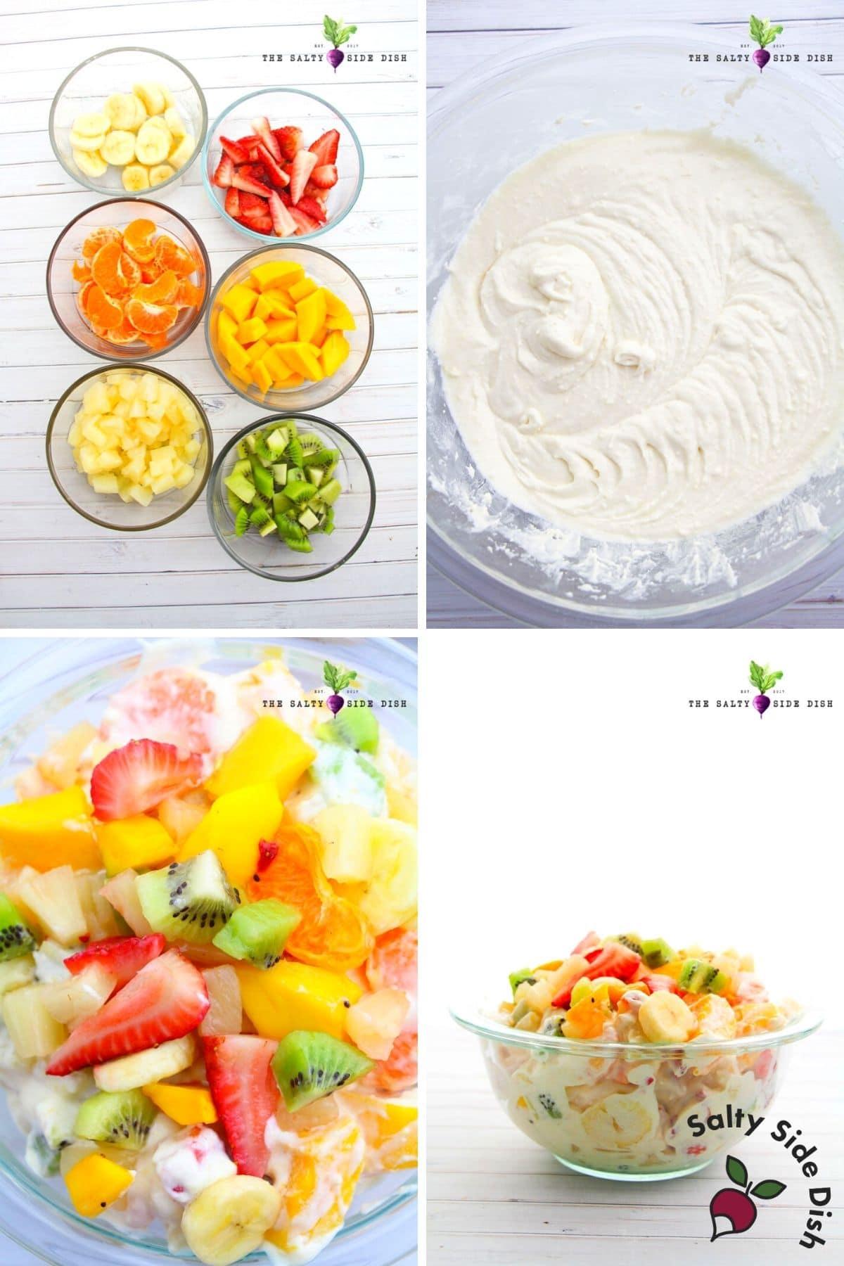 hawaiian cheesecake salad with cut up fruit and mixed up cheesecake pudding