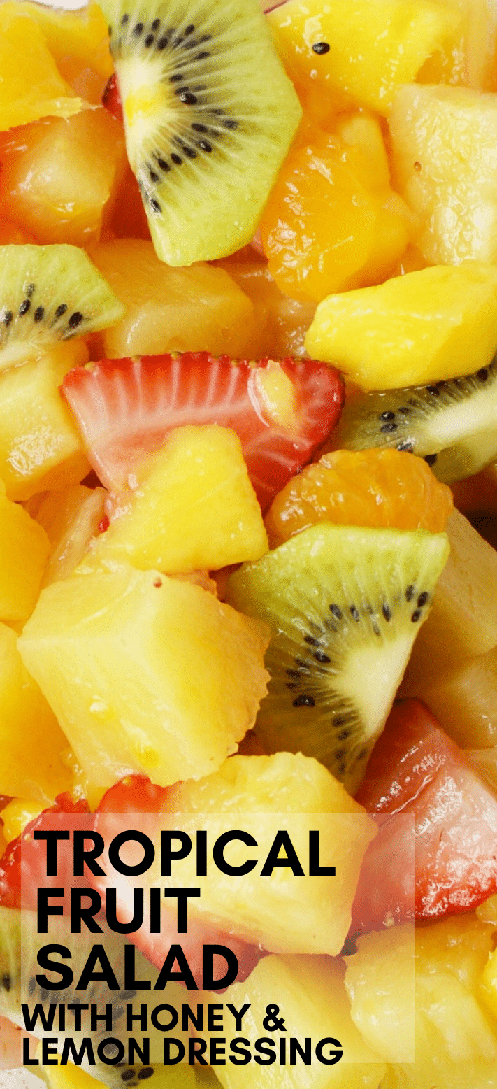 Easy Fall Tropical Fruit Salad Pin for Pinterest