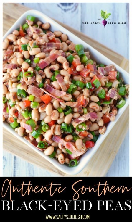 Black eyed pea salad (Southern Caviar) with bacon, onions, garlic and a beat of heat - Authentic Southern side dish recipe