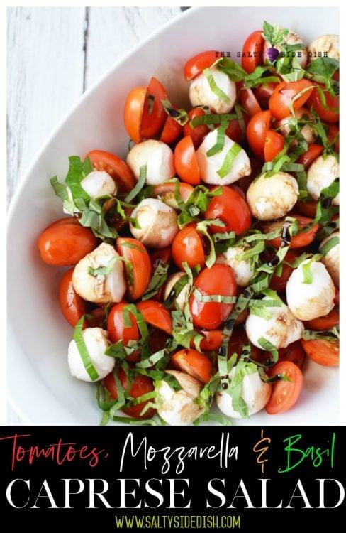 Caprese Salad Recipe with Fresh Basil drizzled in balsamic vinegar and honey, a top caprese salad recipe