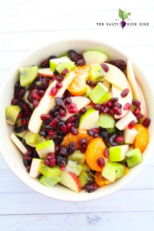 Fruit Salad Recipe with a variety of fresh fruits and a honey, agave or maple syrup and lime dressing