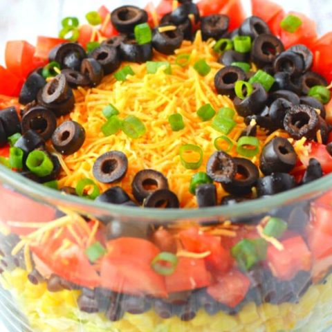 7 Layer Taco Salad Trifle Recipe with Homemade Taco Dressing