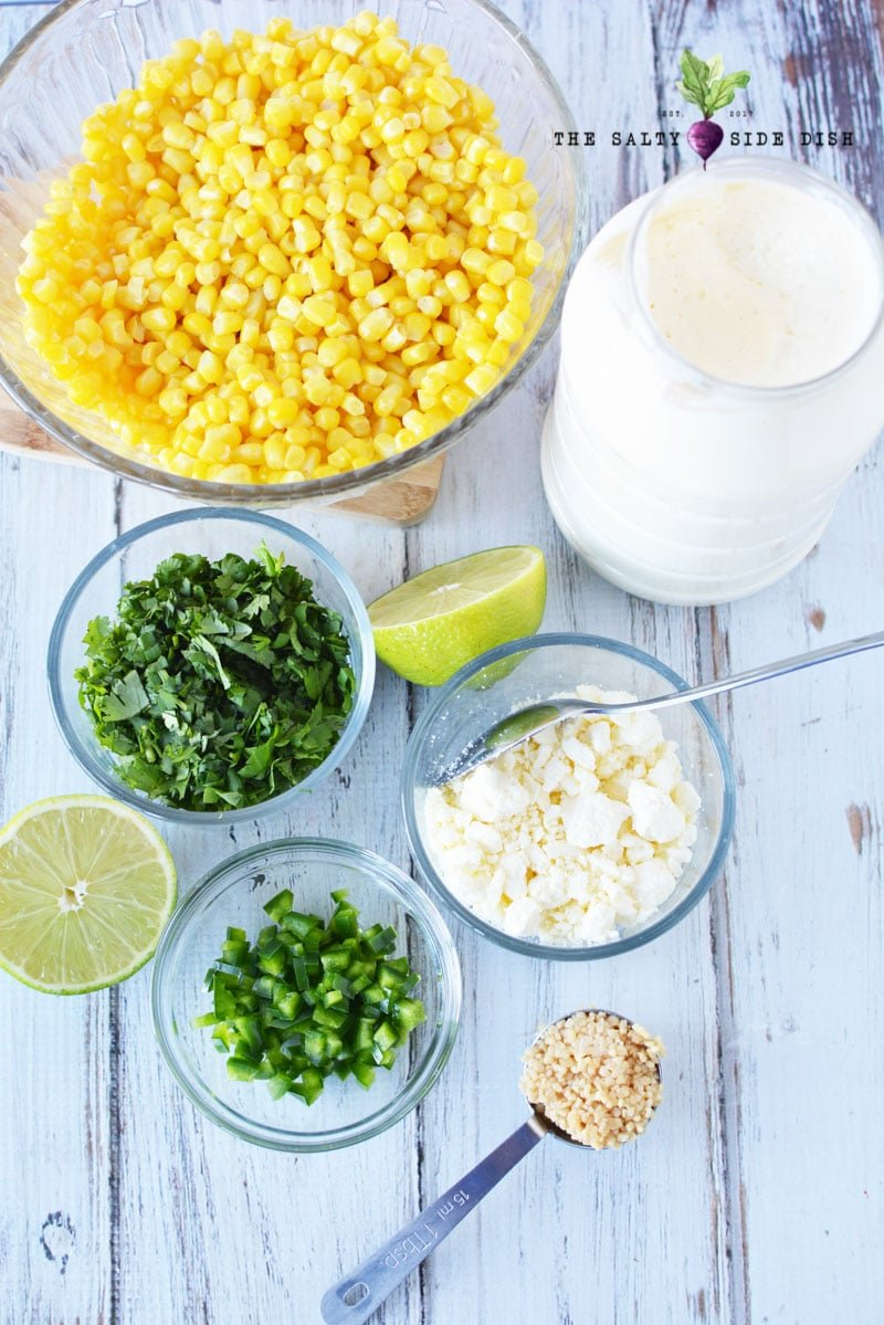 Mexican street corn salad ingredients for mexican side dishes