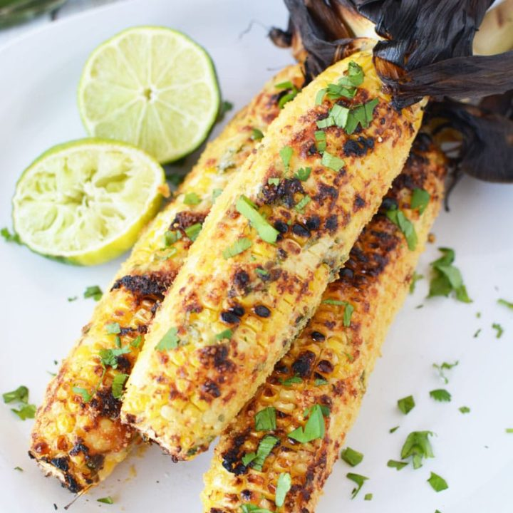 Mexican Grilled Corn on the Cob with Parmesan Mayo Topping