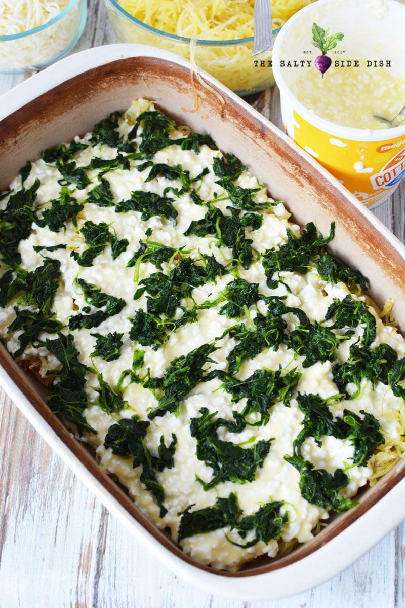 Spaghetti Squash Lasagna with spinach