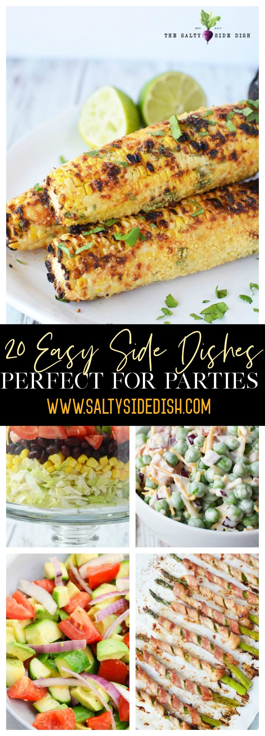 20 Easy Side Dishes Perfect for Parties, bbqs, or potlucks, get amazing hot and cold dishes you can whip up today and all year long #recipes #summer #salads #sidedishes