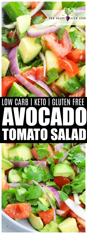 Keto Friendly avocado and tomato salad recipe side dish