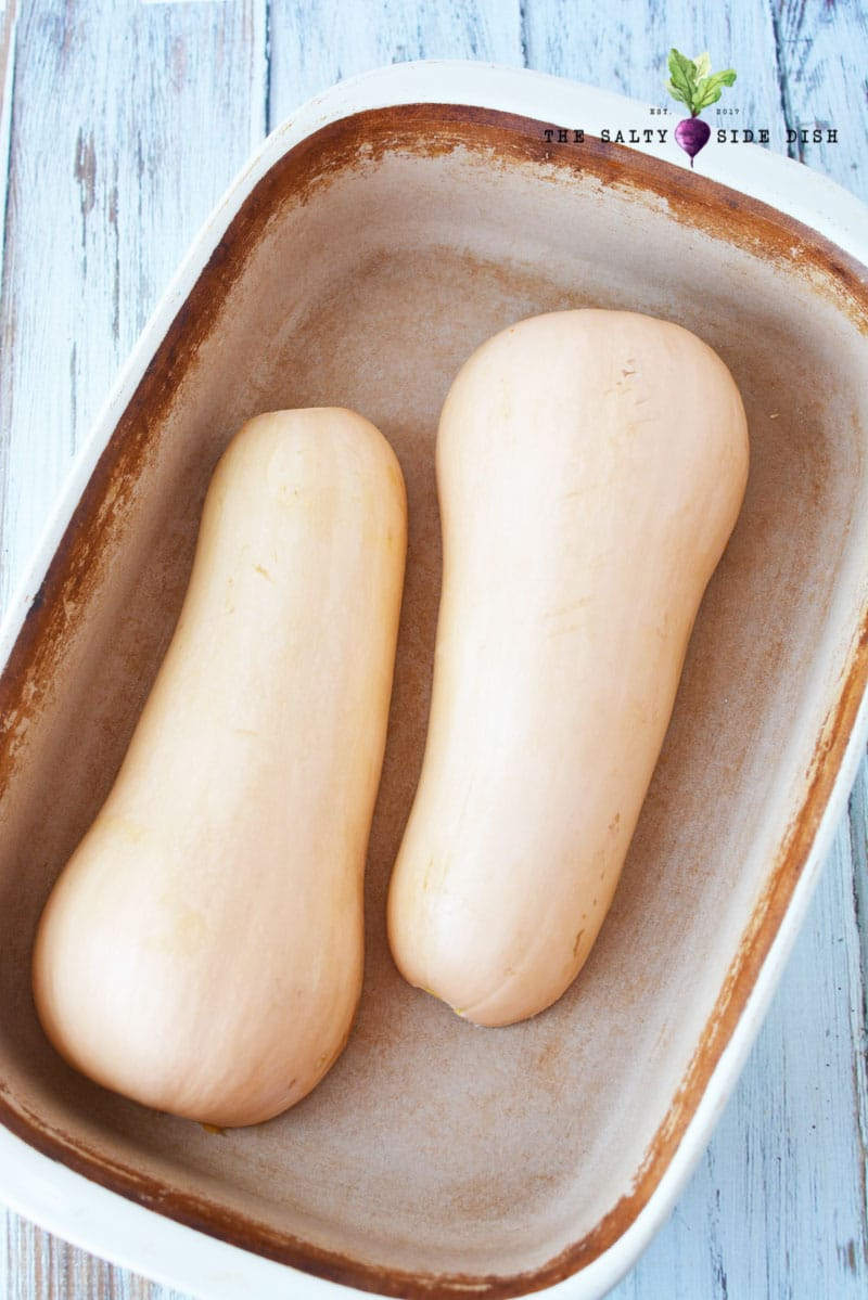 butternut squash with halves down
