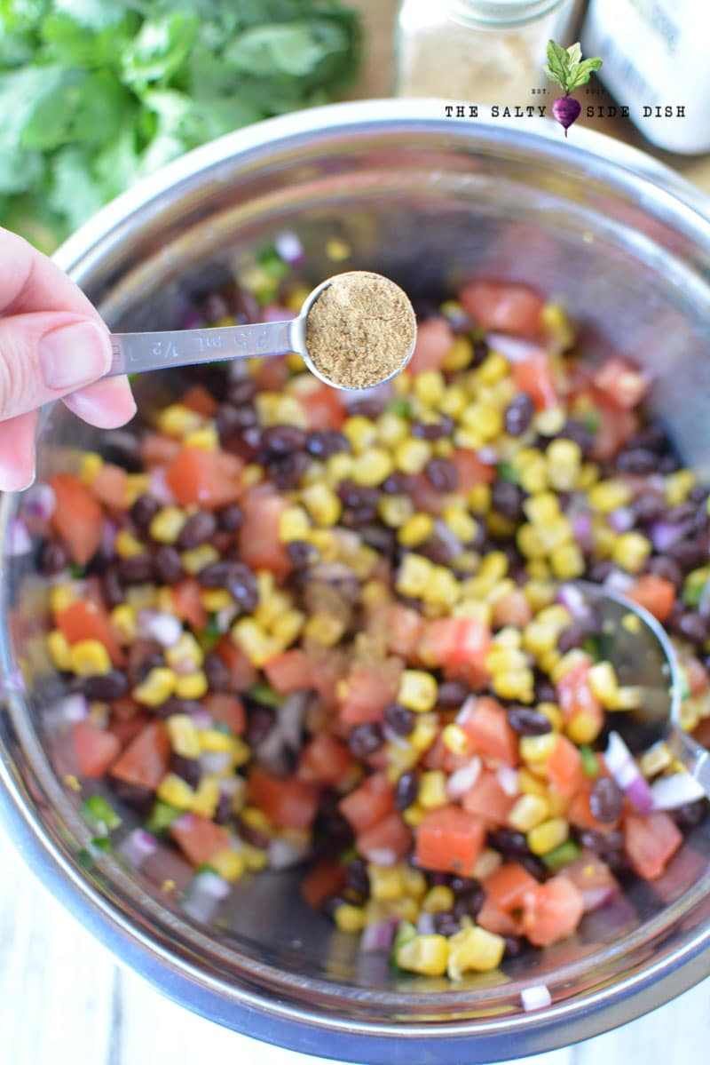 black bean and corn salsa canning with cilantro spices