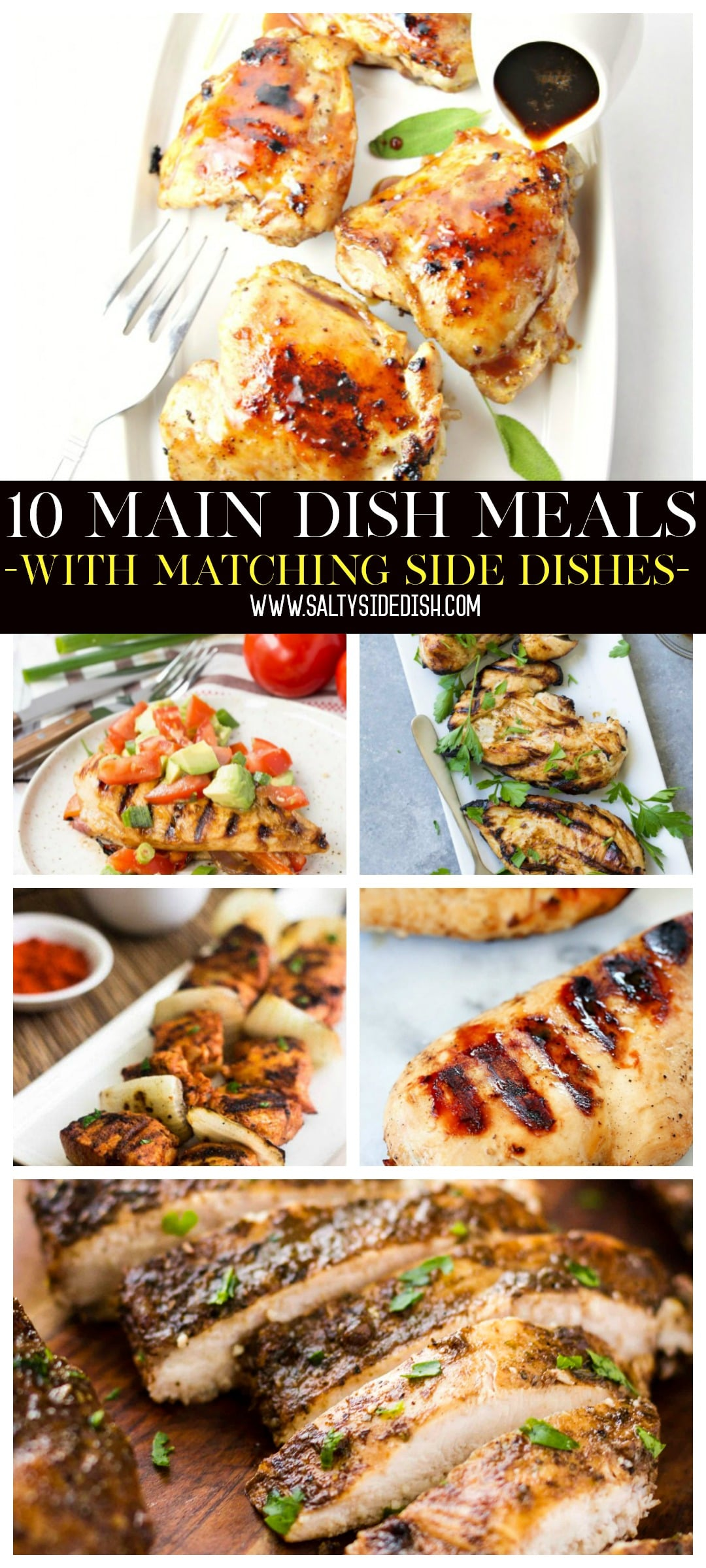 10 Main Dish Recipes for Easy Weeknight Dinner Meals plus matching side dish recipes for a complete homemade plate