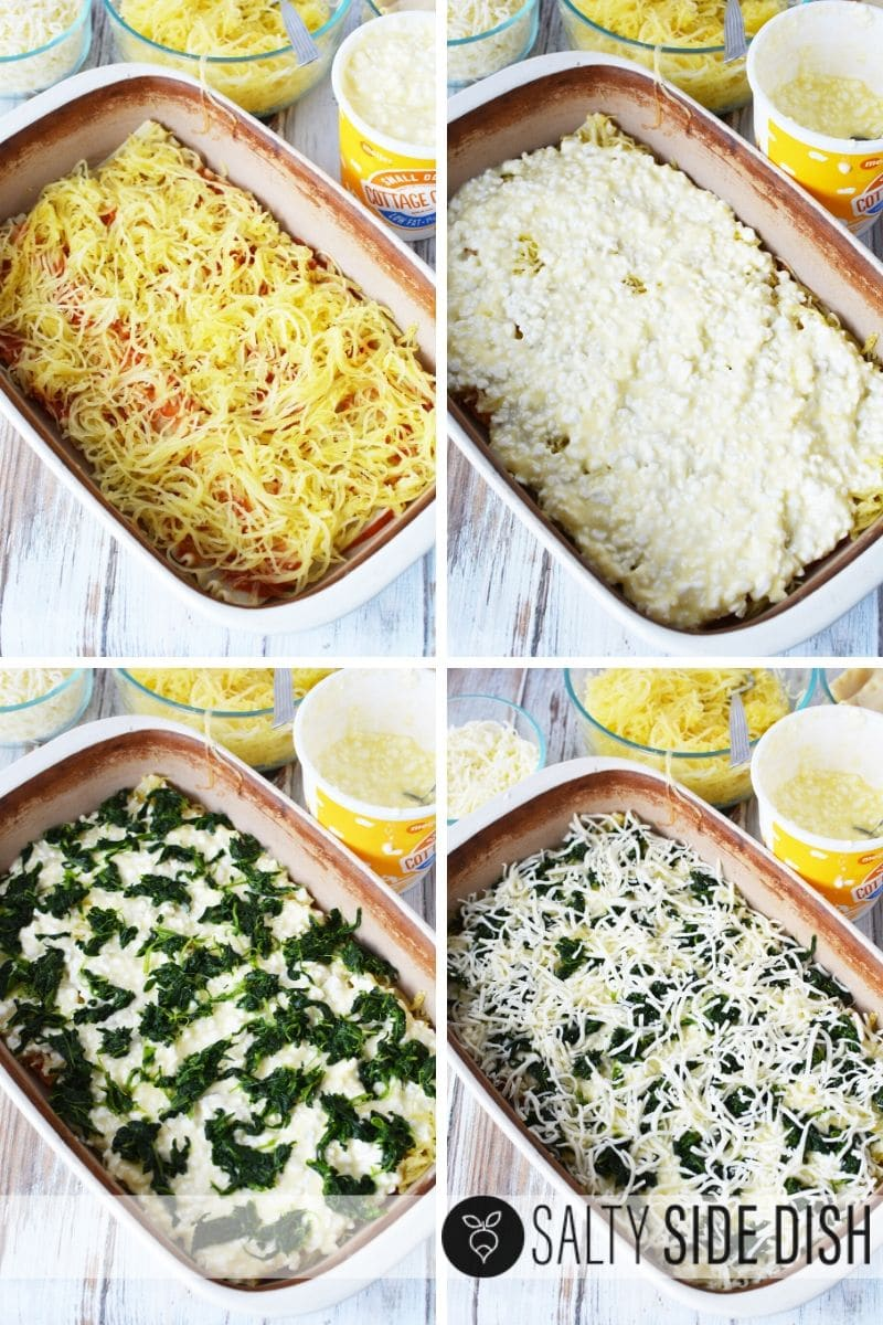 layered lasagne by adding spaghetti squash, cottage cheese, spinach, and cheese, then layer again in that order