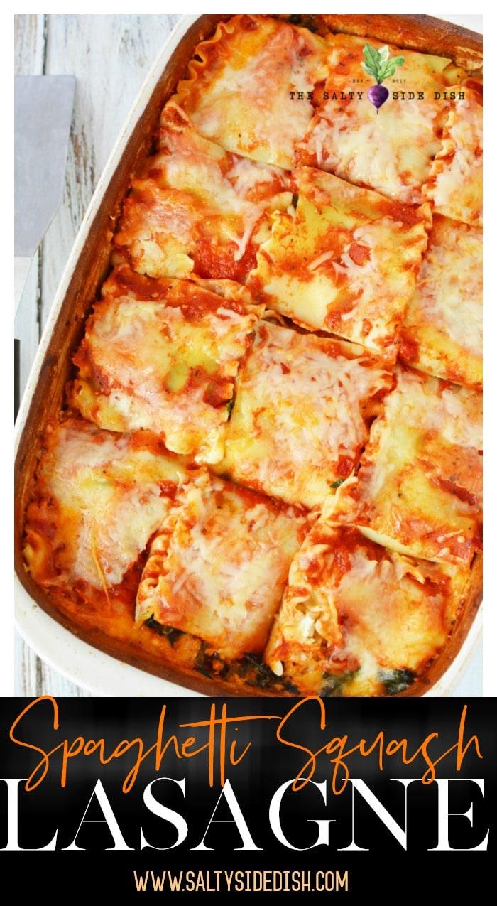 spaghetti Squash Lasagna Recipe with spinach | Meatless Lasagna a perfect vegetarian option #squash #sidedish #pasta