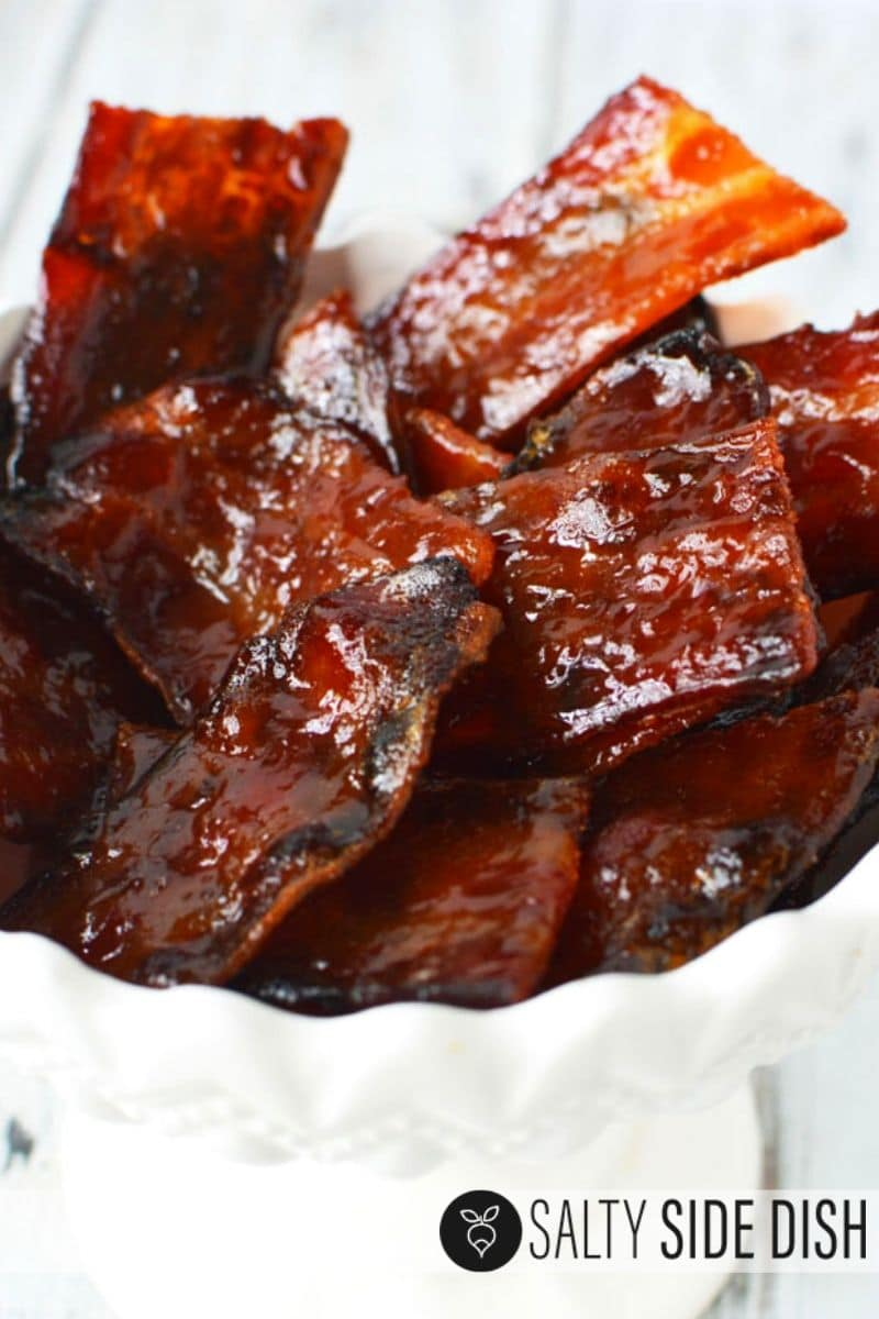 candied bacon recipe, so easy to make bacon candy to serve with brown sugar in a bowl