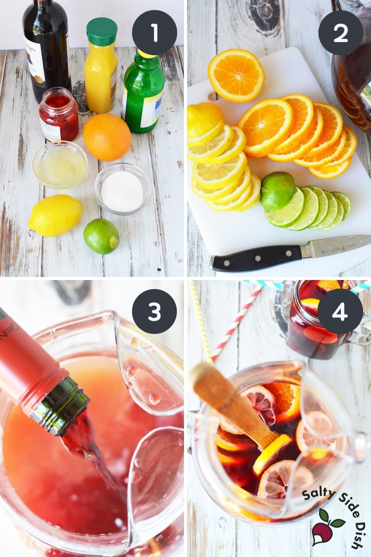 collage of how to make sangria at home.