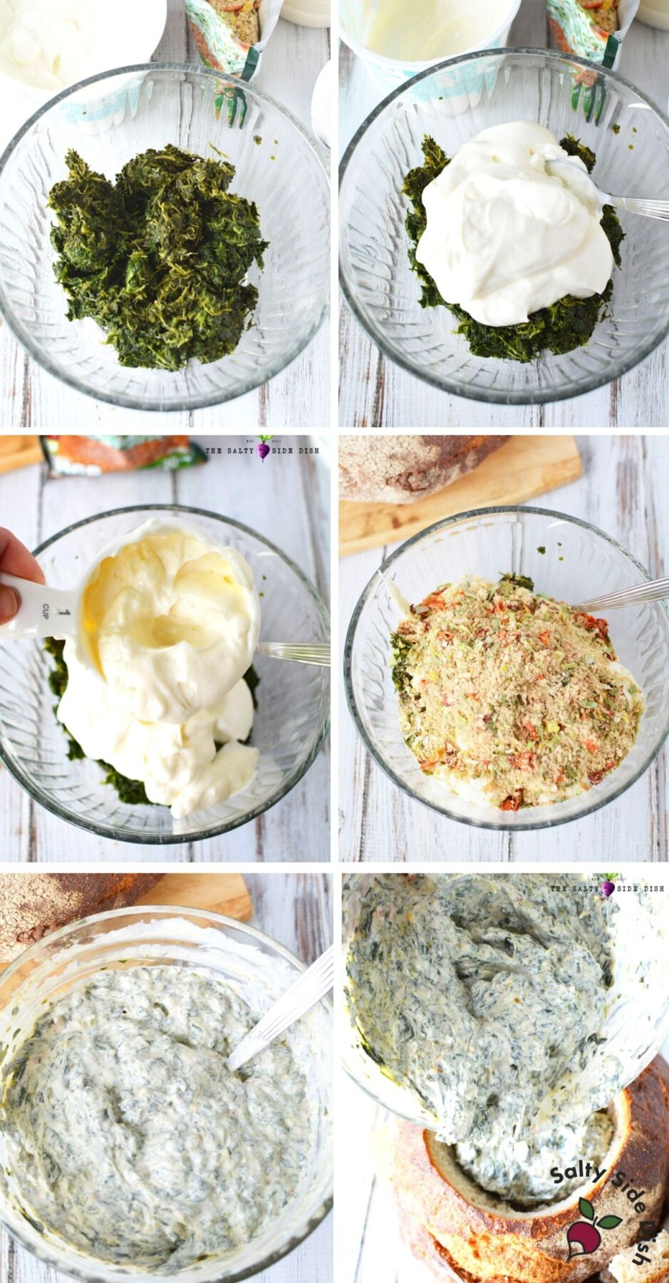 knorr spinach dip being made by college with 6 images