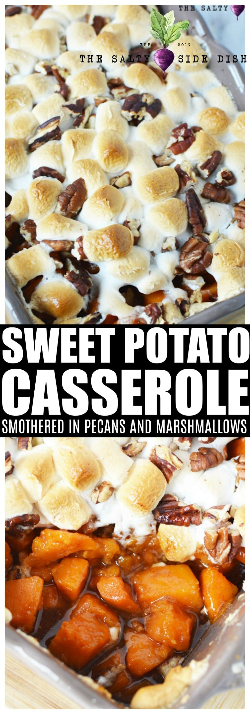 Sweet potato casserole with pecans | Southern Easy Sweet Potato Recipe with marshmallows #sweetpotatoes #casserole #sidedish