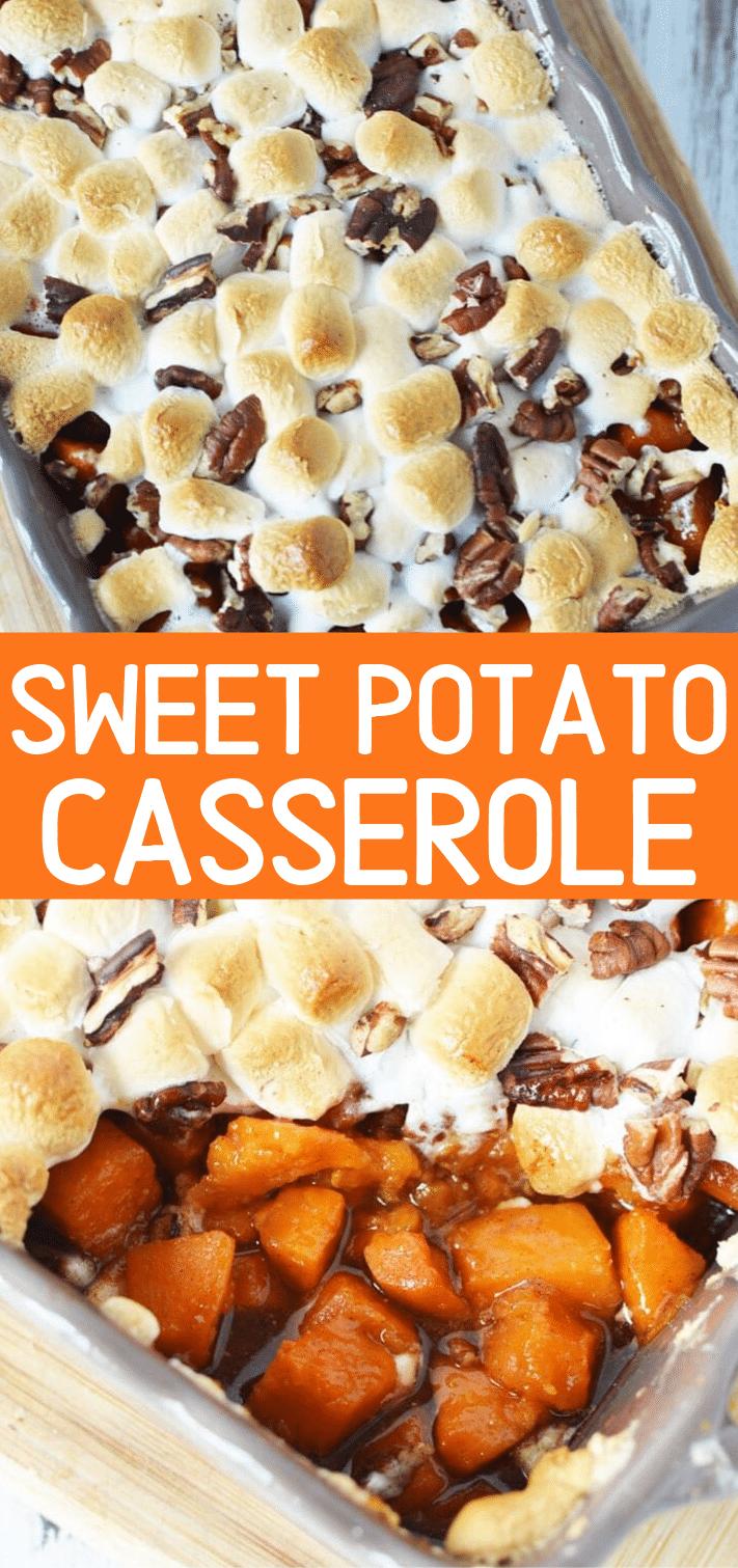 Sweet potato casserole with pecans | Southern Easy Sweet Potato Recipe with marshmallows #sweetpotatoes #casserole #sidedish