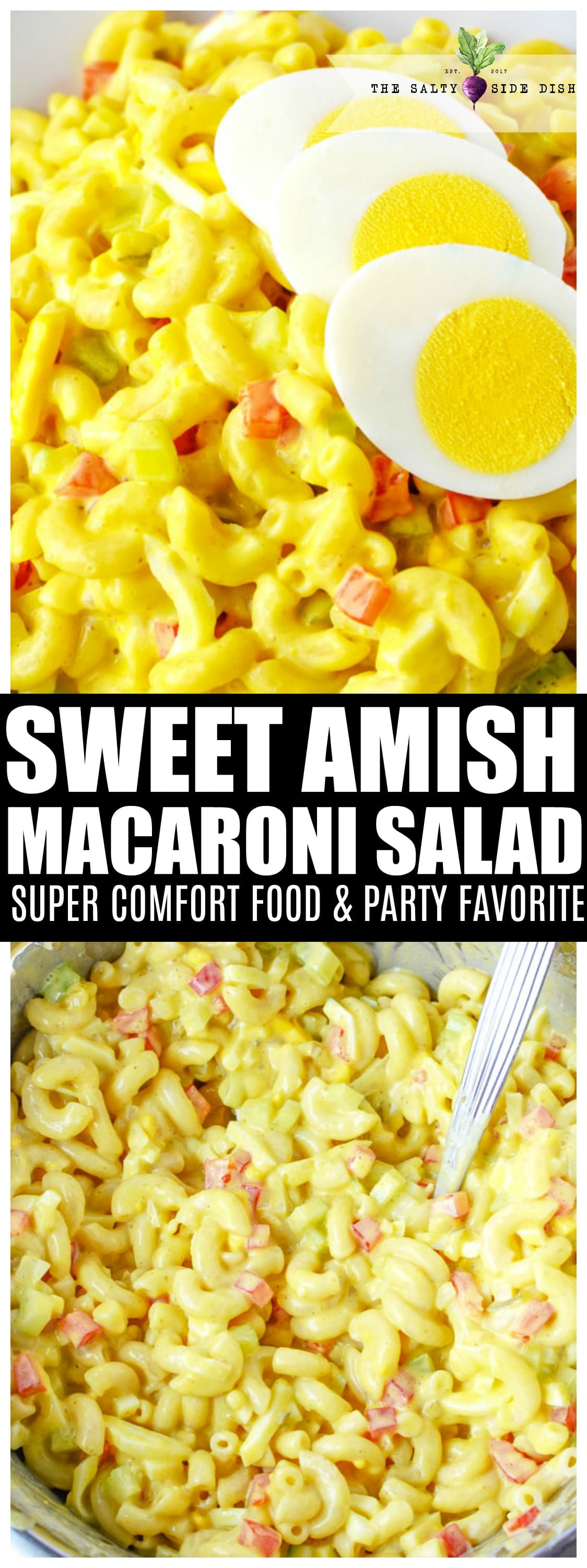 Amish Macaroni Salad | Sweet Macaroni Salad that is the BEST cold dish recipe you will find #sidedish #macaronisalad #amish #recipe #food #homemade #homecooking #holidayfood #bbq