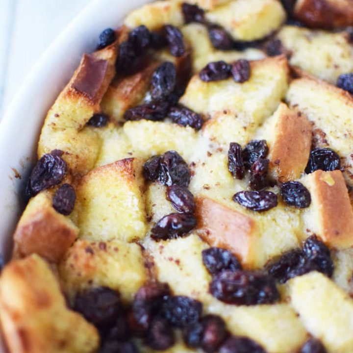Southern Bread Pudding with Raisins