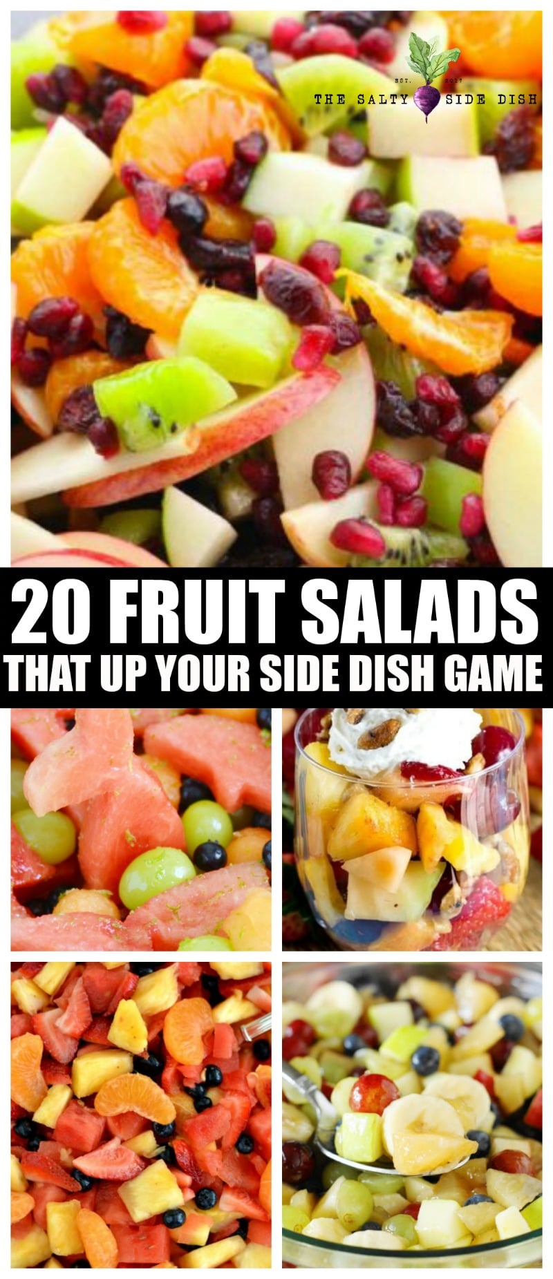20 Fruit Salad Recipes To Up Your Side Dish Game this season! From fresh fruit salads to creamy side dish desserts, here are 20 of the top fruit salad recipe ideas by the very best food bloggers.