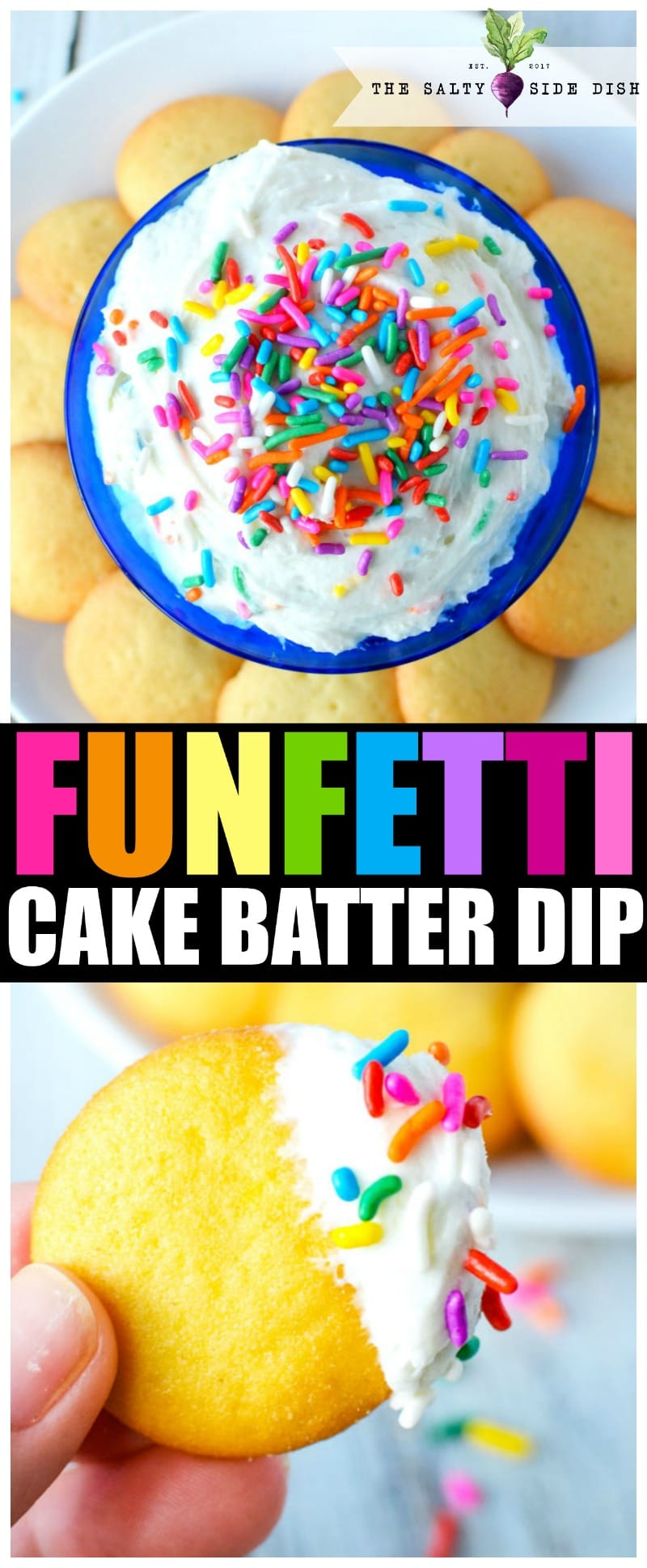 Funfetti Dip Recipe | Funfetti Cake Dip is a super fun, super delicious cake batter dessert dip waiting to be dunked with graham crackers or Nilla Wafers. Layers on the sprinkles and let's get Dipping! #dip #dessertdip #dessert #appetizer #party #parties #dips