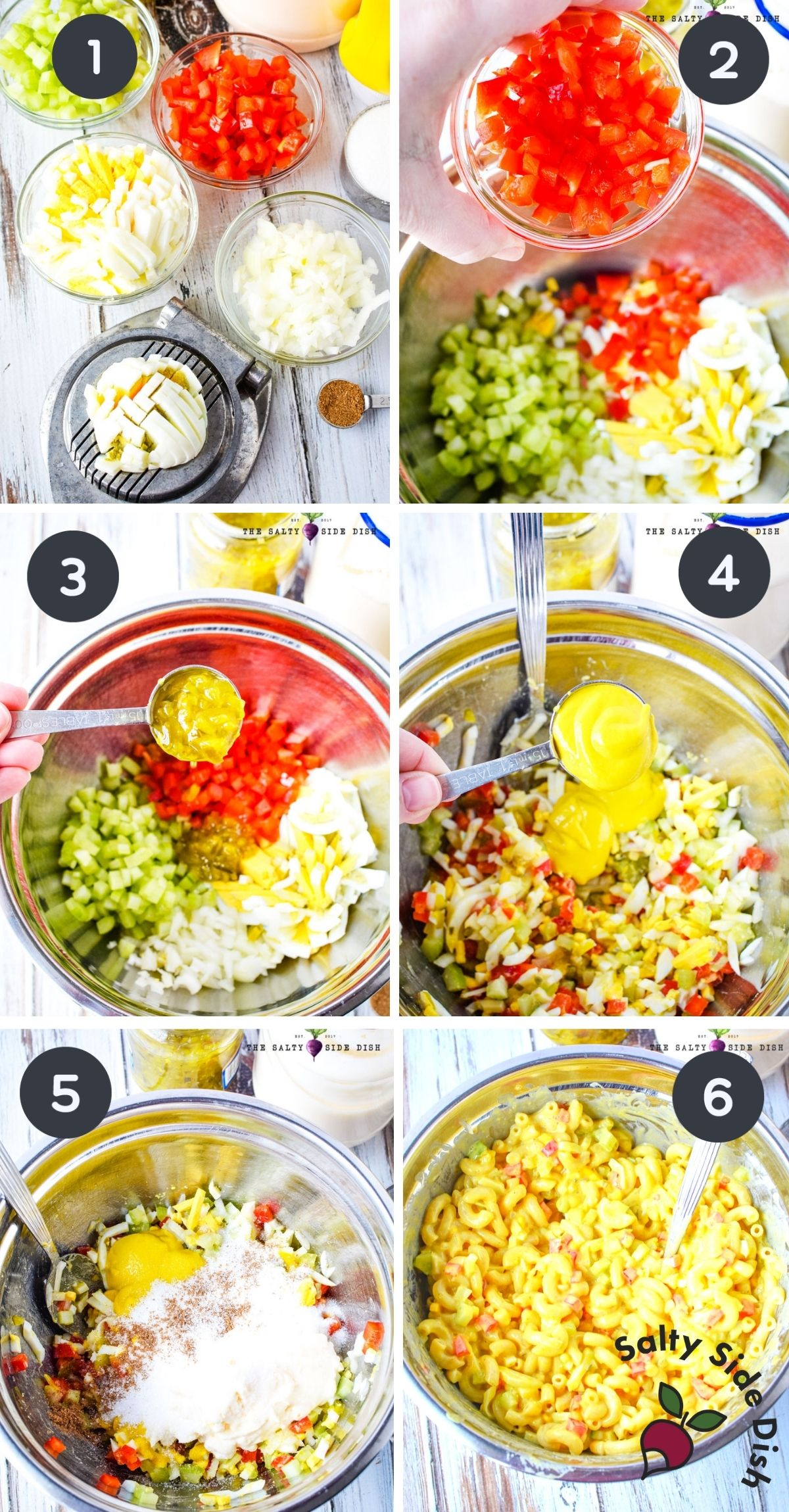 6 image collage of Amish macaroni salad labeled step by step.