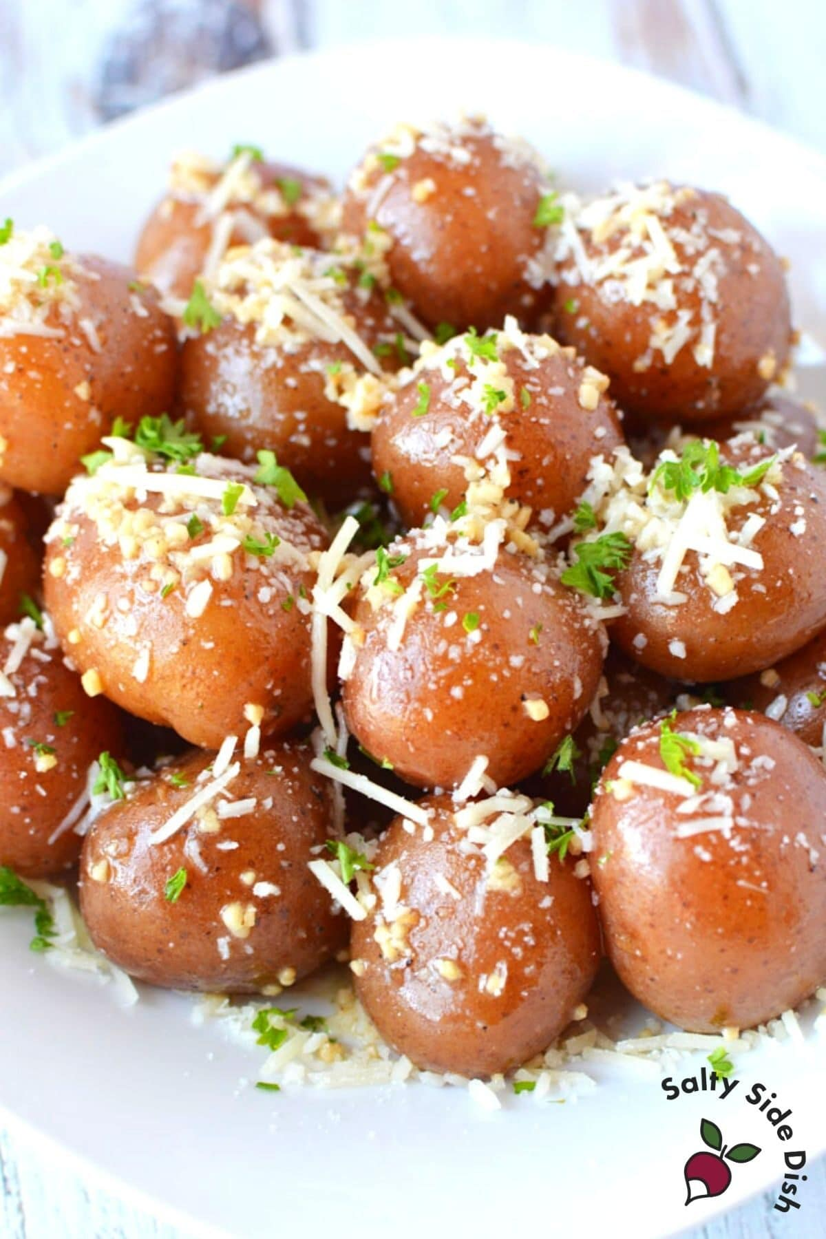 boiled red potatoes with parmesan cheese