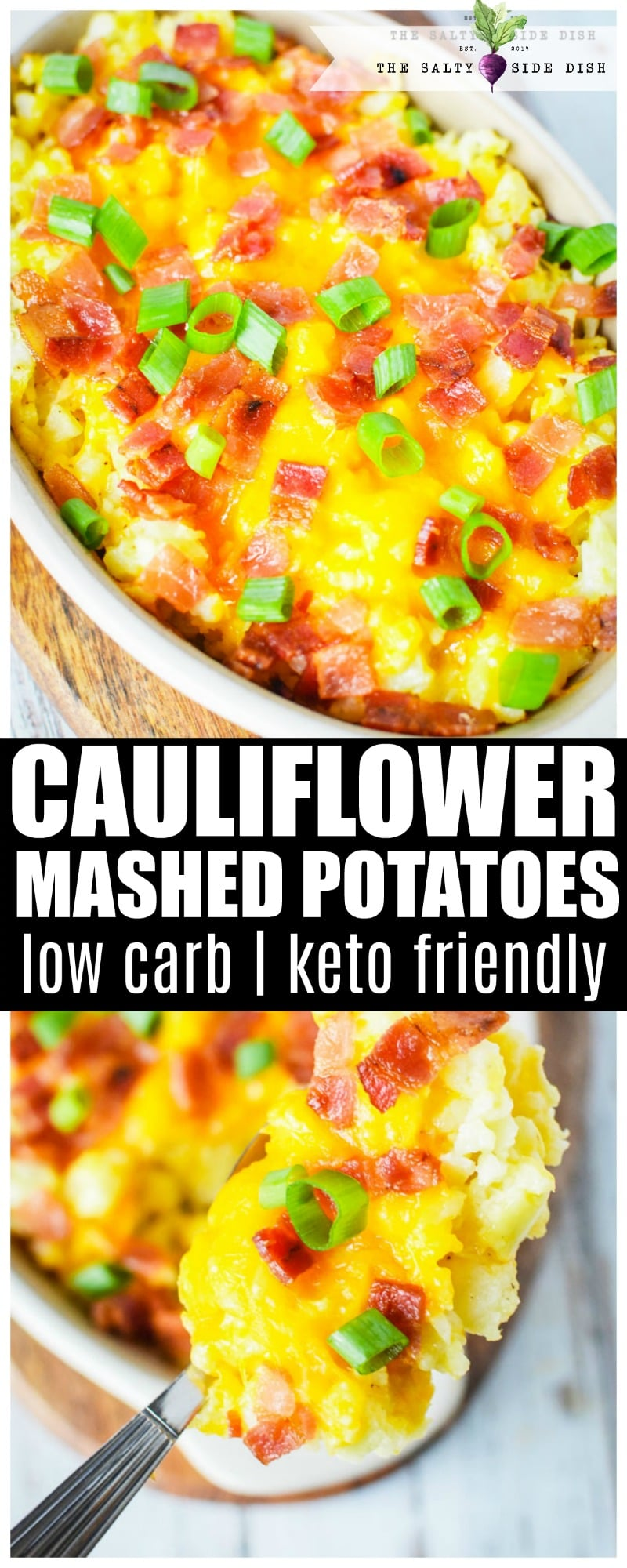 "Cauliflower mashed potatoes, a healthy low carb and KETO friendly ""mocktato"" recipe #copycat #cauliflower #mashed #potatoes #sidedish #holidayeating #holidaysidedish #recipe"