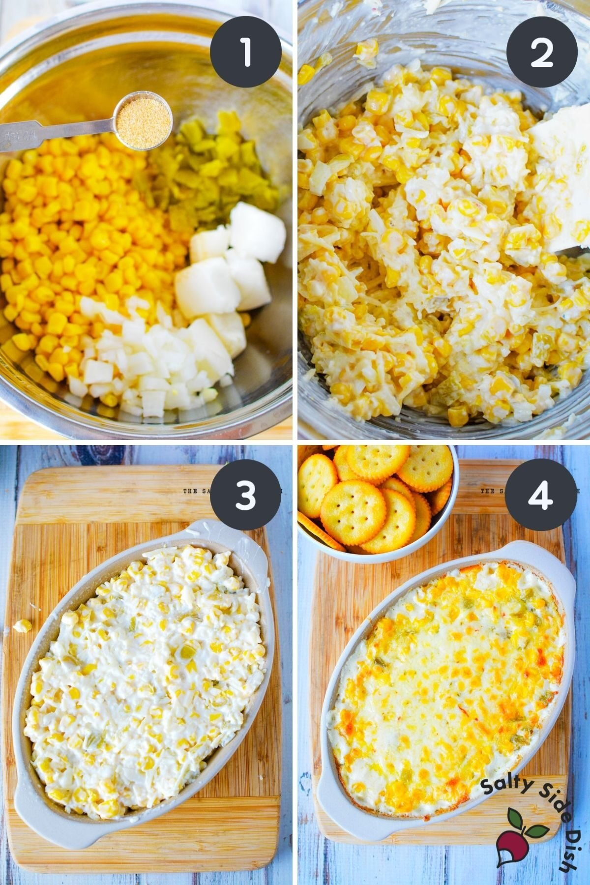 how to make cracked out corn dip in a 4 image collage of adding ingredients to dish.