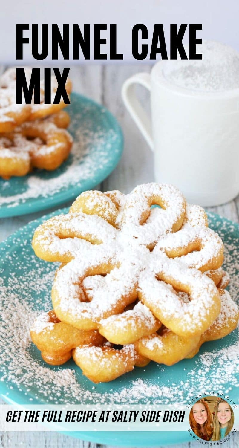 Funnel Cake Mix, make your own county fair funnel cake with these simple pantry ingredients, pile high with funnel cake toppings! #funnelcake #cake