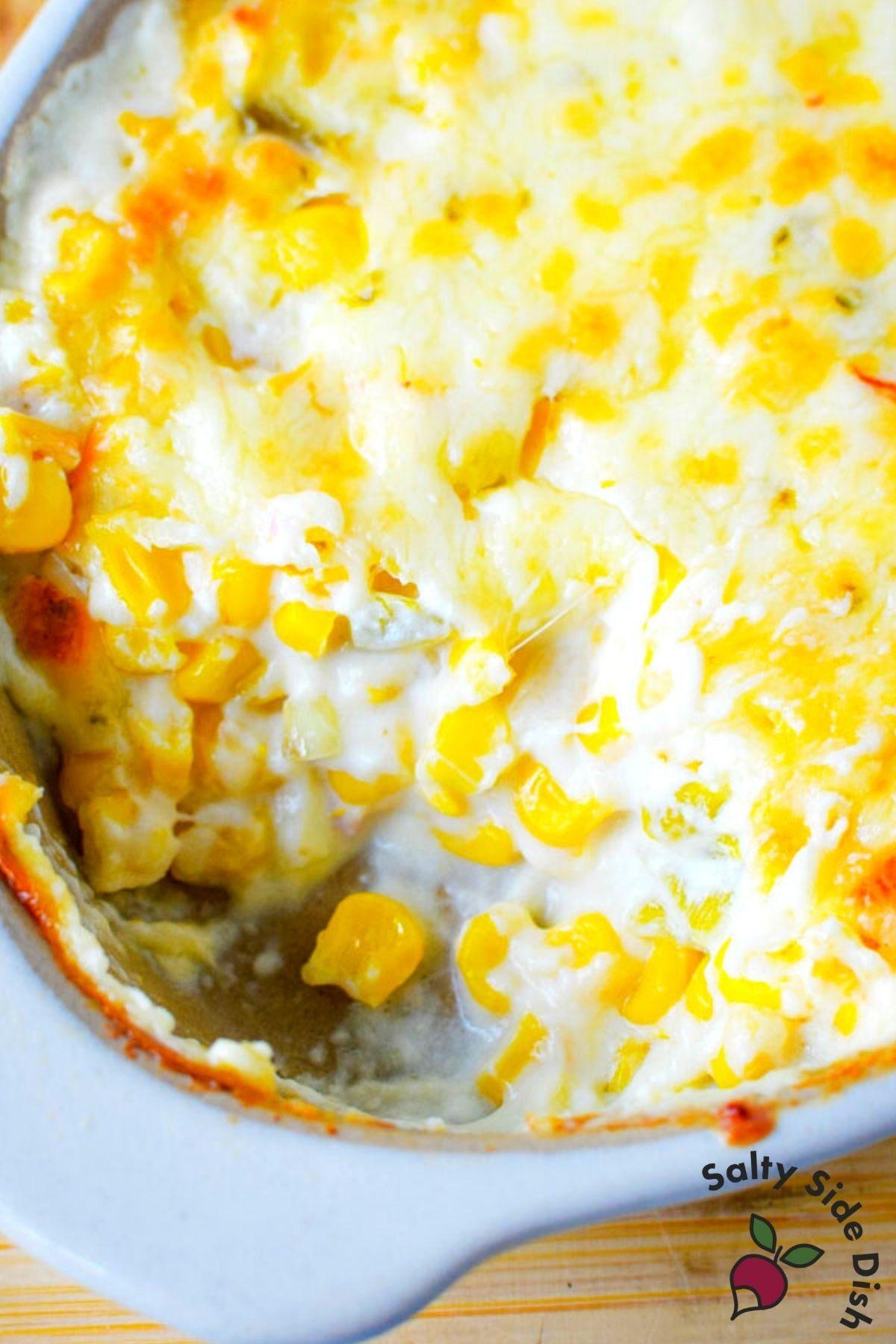 close up image of hot corn dip.